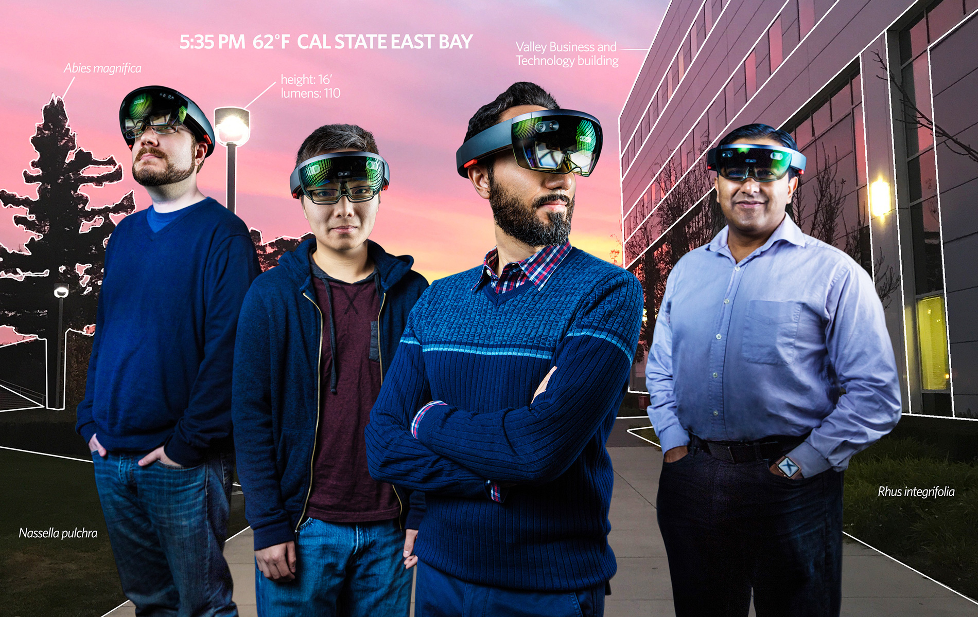 Four men wearing VR googles near the VBT building
