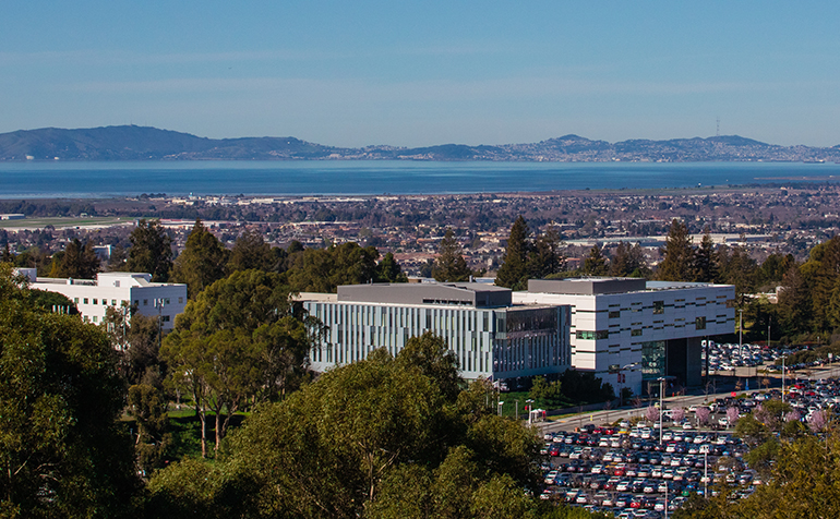 Aerial view of Cal State East Bay campus and bay