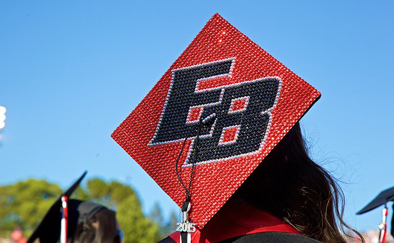 "A graduation cap with ""EB"" jeweled onto the top."