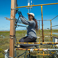 A female works on a piece of equipment at the Hayward shoreline