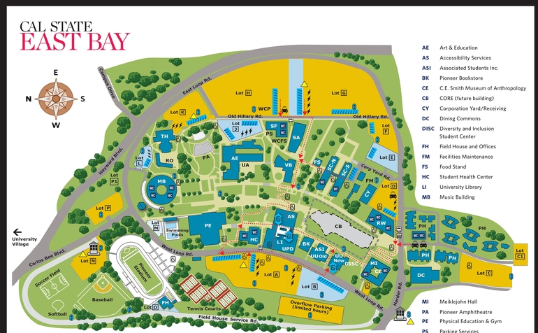 cal state east bay campus map Hayward Campus Maps cal state east bay campus map