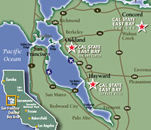 Map of the CSU East Bay Surrounding Area