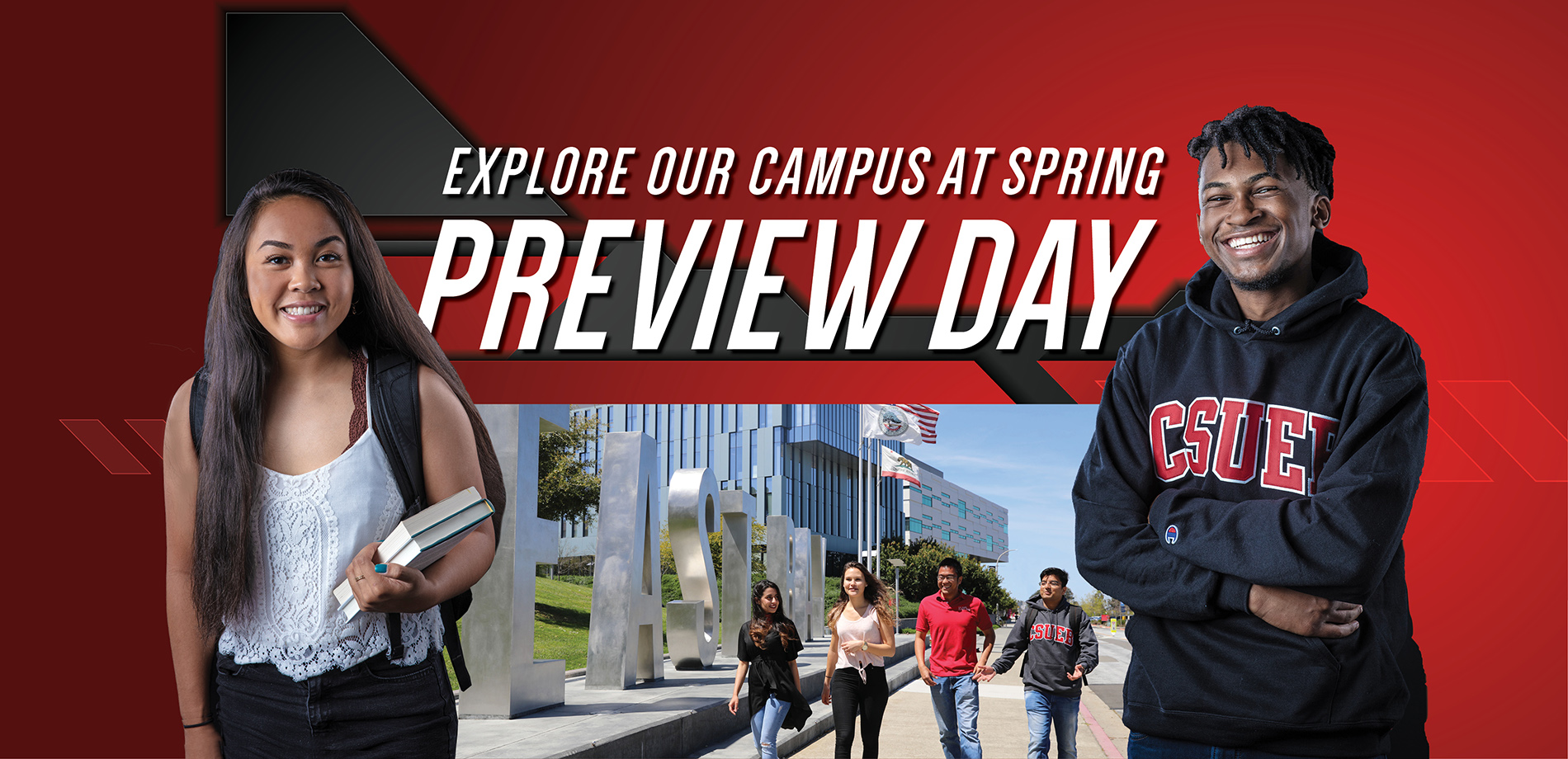 Spring preview day banner showing students on campus