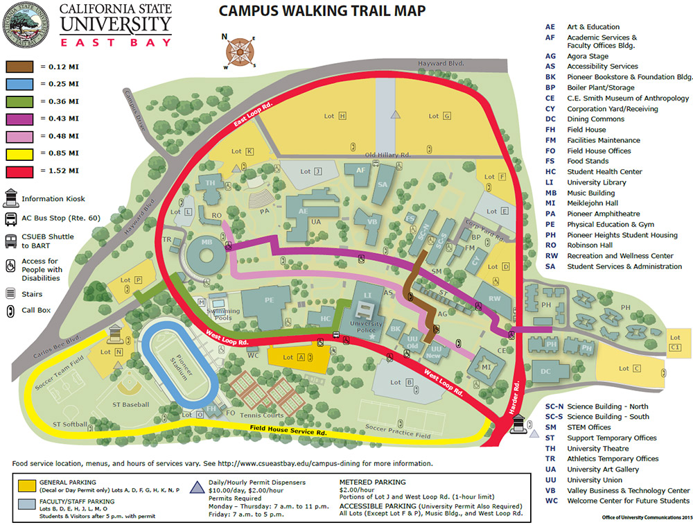 Csu East Bay Map Campus Walking Map Csu East Bay Map