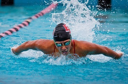 Photo of CSUEB swimmer Alyssa Tenney in the pool.