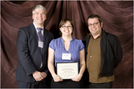 From left to right: David Pauling (Pauling family representative), Amelia Manlove (CSUEB), and Blake Gillespie (Channel Islands, Pauling Award Committee Chair).