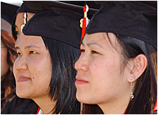 Students in graduation gown