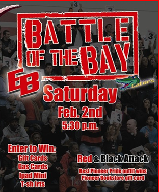 Red and black poster promoting the Battle of the Bay event on Feb. 2.