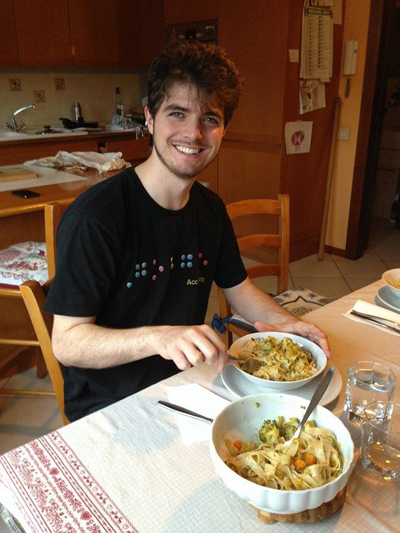 CSUEB student Brandon Keith Biggs enjoys a bowl of pasta after a cooking lesson from his Italian girlfriend's mother while studying abroad in Milan, Italy.