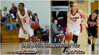 "Pioneers Jacari Whitfield and Micah Walker were awarded ""Freshmen of the Year"" by the CCAA. (Photo: Kelley Cox)"