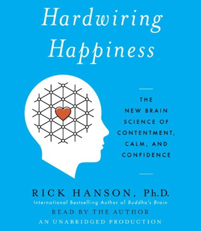 "Image of a blue book with title ""Hardwiring Happiness"""