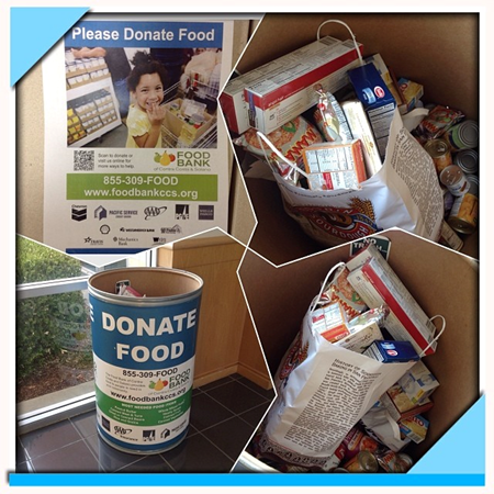 Image of donated food inside a donation bin