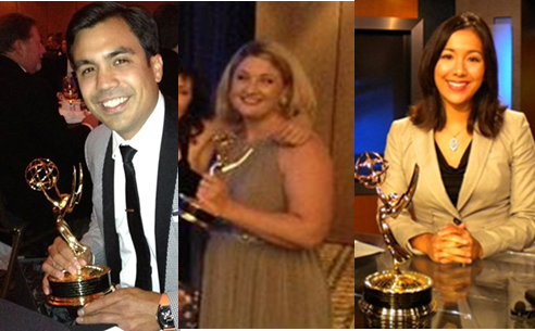 Individual photos of Steven Uhalde, Michele Ernest and Sabrina Rodriguez each holding an Emmy statuette.
