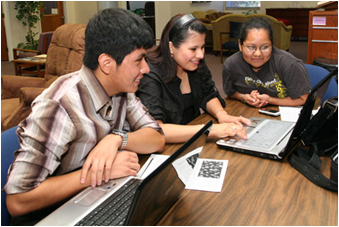 Photo of students gathered around a computer. Starting a new university can be challenging. In addition to new classes, new peers and new faculty, you also need to learn how to navigate through CSUEB's online world.