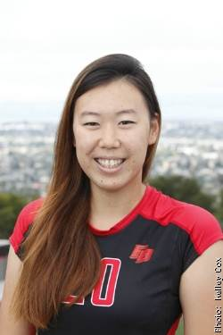 Photo of CSUEB volleyball player Suzy Ni Xu in her Pioneers uniform.