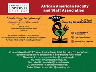 Promotional poster for the AAFSA scholarship dinner on April 5, 2013.