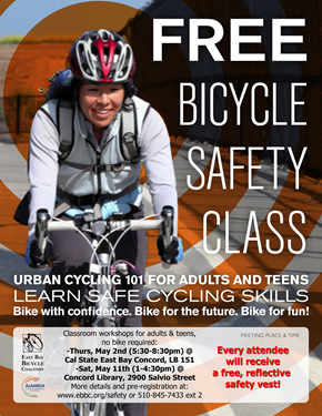 Photo of the poster for the CSUEB Concord Bicycle Safety Class