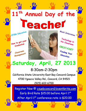 "Photo of the poster promoting ""Day of the Teacher"" on April 27 at the CSUEB Concord campus."