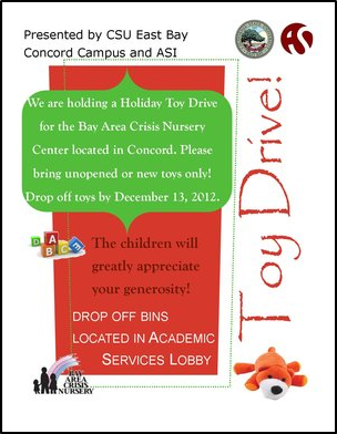 Poster promoting the Holiday Toy Drive on the CSUEB Concord campus
