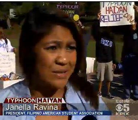 Image of CSUEB student Janella Ravina bieng interviewed by KPIX reporter Cate Cauguiran.