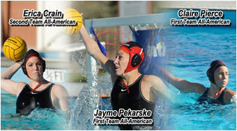 Action game photos of three female water polo players.