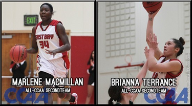 Game photos of CSUEB basketball players Marlene MacMillan and Brianna Terrance