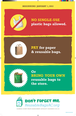Poster of the reusable bag ordinance for Alameda County which went into effect Jan. 1, 2013