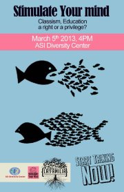 Poster for the Mar. 5 ASI Diversity Center event on classism and education.