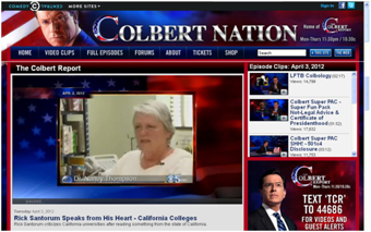 Cal State East Bay History Department Chair Nancy Thompson's interview was featured on The Colbert Report April 3. (Photo: colbertnation.com)