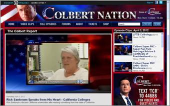 Screen shot of the website colbert nation