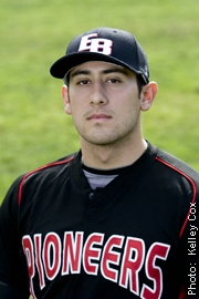 CSUEB Junior David Castillo contributed to the Pioneer victory with two hits and four RBIs. (Michael Chen)