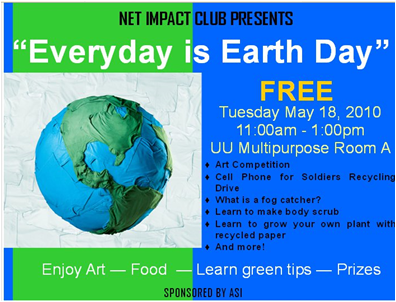 Every day is Earth day will be held on May 18th.