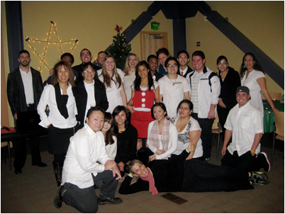 Mary Fortune (front), associate professor of hospitality, and her REC 4502 class celebrate Falliday.