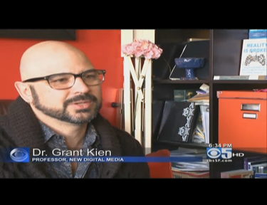 Screen shot of CSUEB Professor Grant Kien being interviewed on KPIX CBS San Francisco about #26acts of random kindness.