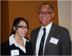 CSUEB students Violet Watts and Dale Fulnoy received scholarships from the Hotel and Restaurant Foundation. (Photo: Melany Spielman)