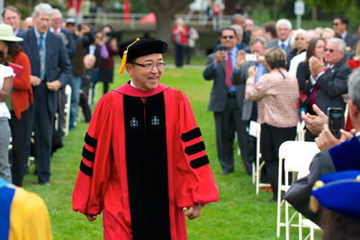 President Morishita in academic robes at ceremony