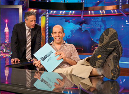 "J.R. Havlan '87 with his ""Daily Show"" boss, Jon Stewart (By: Jesse Cantley)"