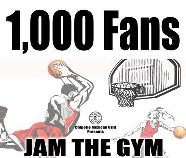 Graphic of CSUEB Pioneer basketball promoting the Pioneer Basketball Chipotle 1k Race to 1,000 on Jan. 11