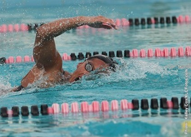 Pioneer Jenel Lopez set a personal best record in the 800 free relay. (Photo: Kelley Cox/CFotos.com)