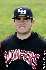 Cal State East Bay Pioneer Kyle Zozaya hit two home runs, including a go-ahead two-run homer in the eighth inning to lead the Pioneer baseball team to a come-from-behind 12-11 CCAA victory over Cal State San Bernardino on April 16 at Fiscalini Field.