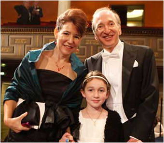 CSUEB Professor Laura Nelson with her husband Saul Perlmutter and daughter Noa after the Nobel Prize Award Ceremony on Dec. 10, 2011. (Photo by Lina Göransson, The Nobel Foundation 2011)
