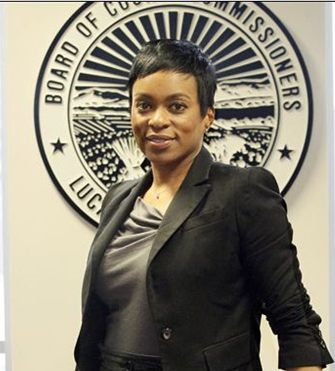 Photo of CSUEB alumna Laura Lloyd-Jenkins who is blazing a trail in Lucas County, OH as their first woman, first African-American and first person ever hired outside the county.