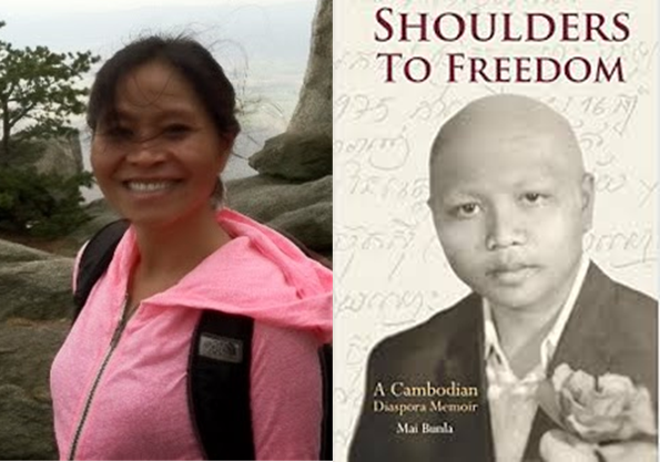 Image of Mai Bunla and an image of a book cover, Shoulders to Freedom