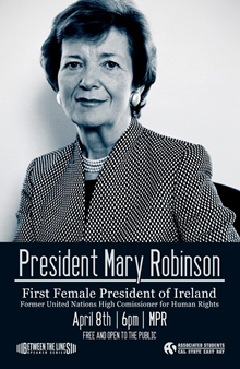 Photo of the ASI poster promoting Mary Robinson lecture at Cal State East Bay.