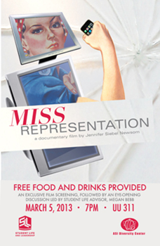 Poster of the Miss Representation screening on the CSUEB Hayward campus.