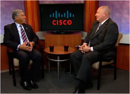 President Mo Qayoumi and Dr. Greg Mathison, Global Solutions Manager at Cisco