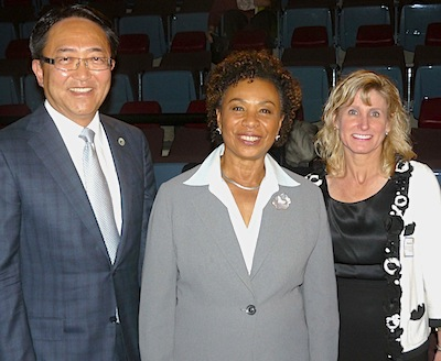 President Leroy M. Morishita, Rep. Barbara Lee, and Dr. Stephanie Couch at the Gateways East Bay STEM Network convening Oct. 10. (By: Barry Zepel)