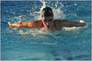 CSUEB swimmer Murphy Wimer set a new school record for the 200 medley.