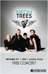 Neon Trees plays CSUEB Agora stage on Sept. 29 at noon.