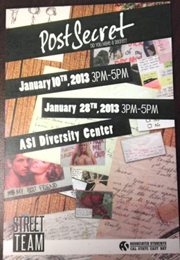 Poster for the PostSecrets event at Cal State East Bay on Jan. 28.